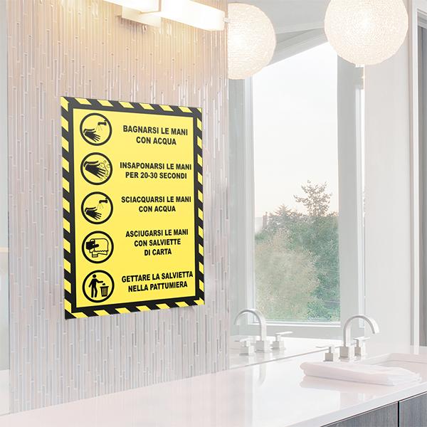 segnaletica covid-19 - adesivo per muri e vetri - regole lavaggio mani