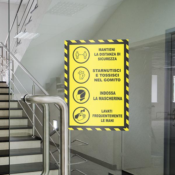 segnaletica covid-19 - adesivo per muri e vetri - Regole Sicurezza
