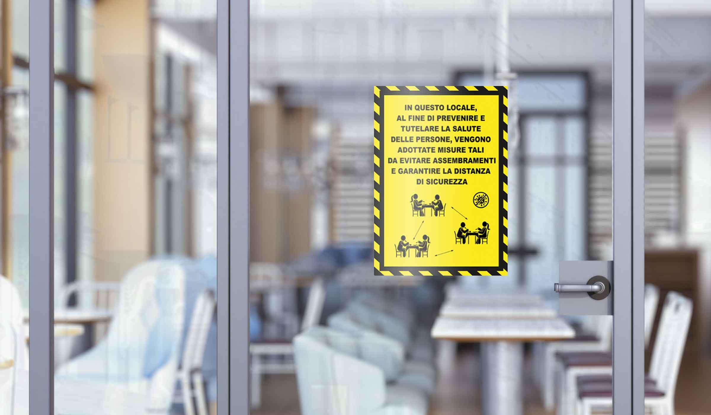 segnaletica covid-19 - adesivo per muri e vetri - regole ingresso locali 1