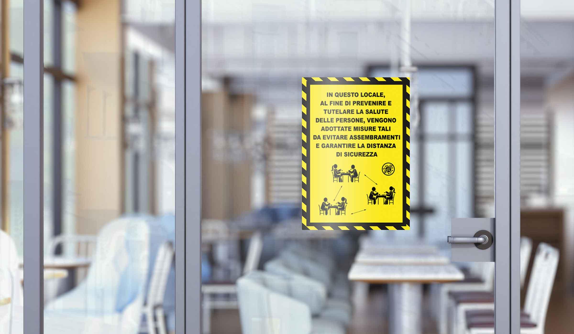 segnaletica covid-19 - adesivo per muri e vetri - regole ingresso locali