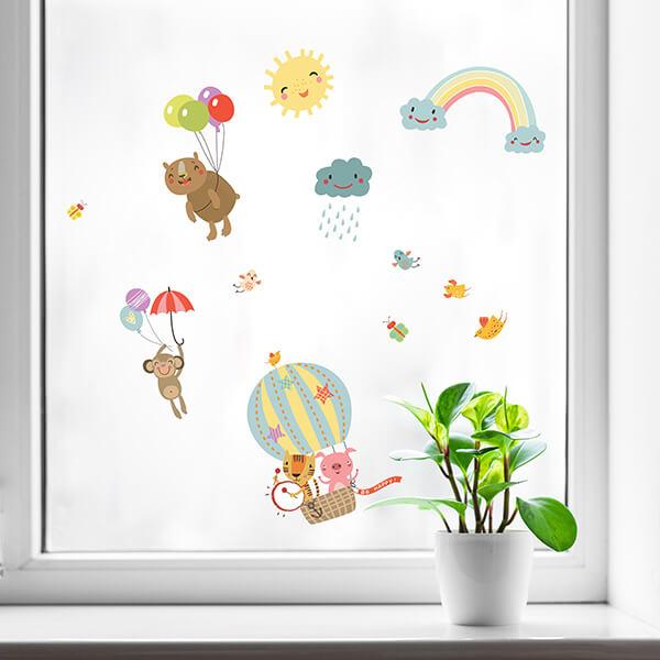 adesivo per muri e vetri - rainbow animals
