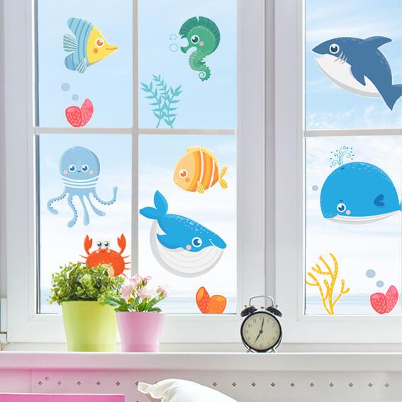 adesivo per muri e vetri - sea animals