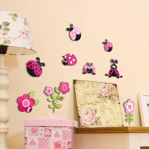 3 levels - pink ladybugs
