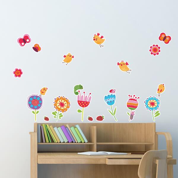 adesivo - birds & flowers