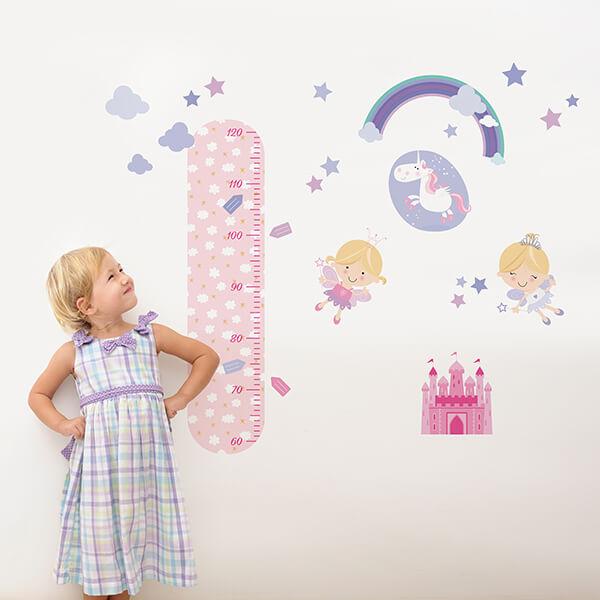 adesivo murale - metro crescita funny fatine