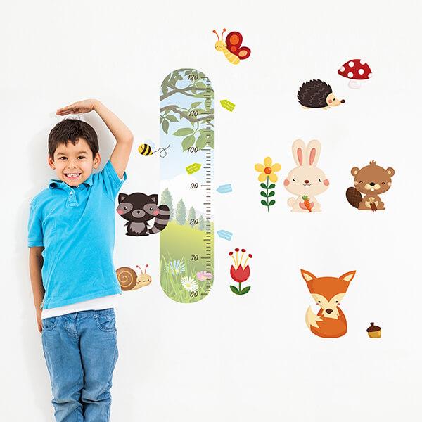 adesivo murale - metro crescita funny animals