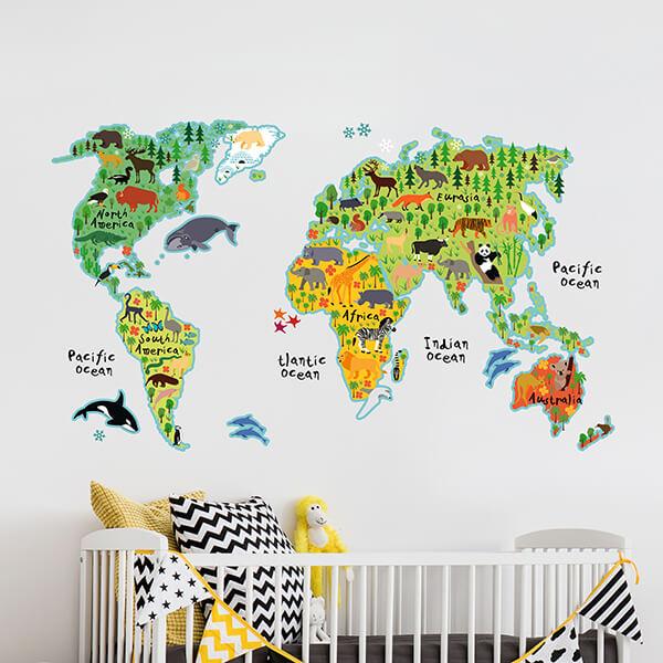 adesivo murale - world map