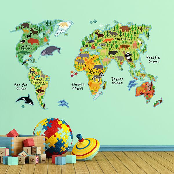 adesivo murale - world map 1