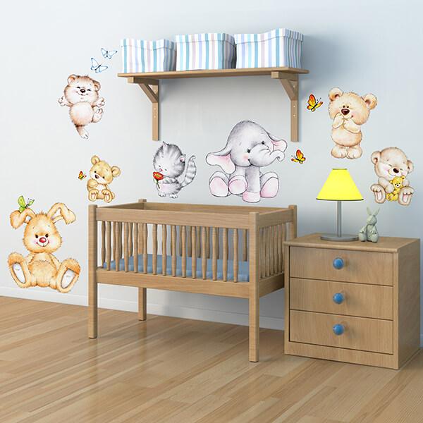 adesivo murale - cute animals