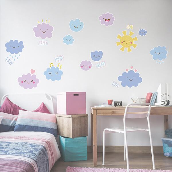 adesivo murale - happy clouds