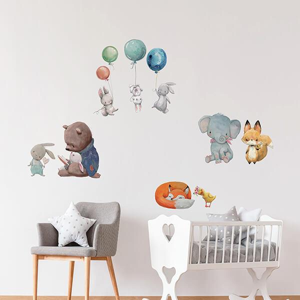 adesivo murale - watercolour animals