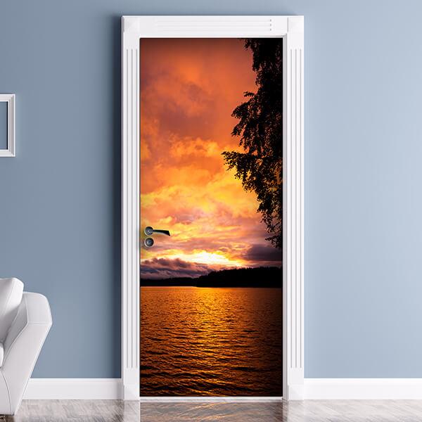 rivestimento per porta - lake sunset