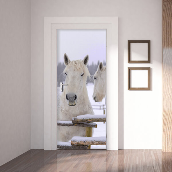 rivestimento per porta - cavalli bianchi