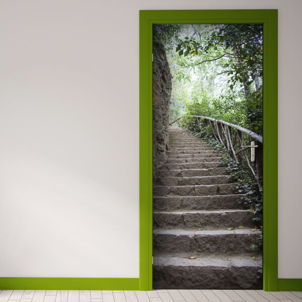 rivestimento per porta - stairs in forest