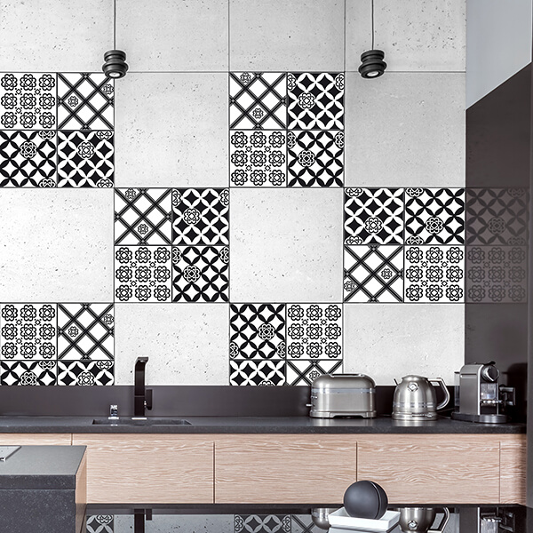 piastrelle adesive - maiolica black and white
