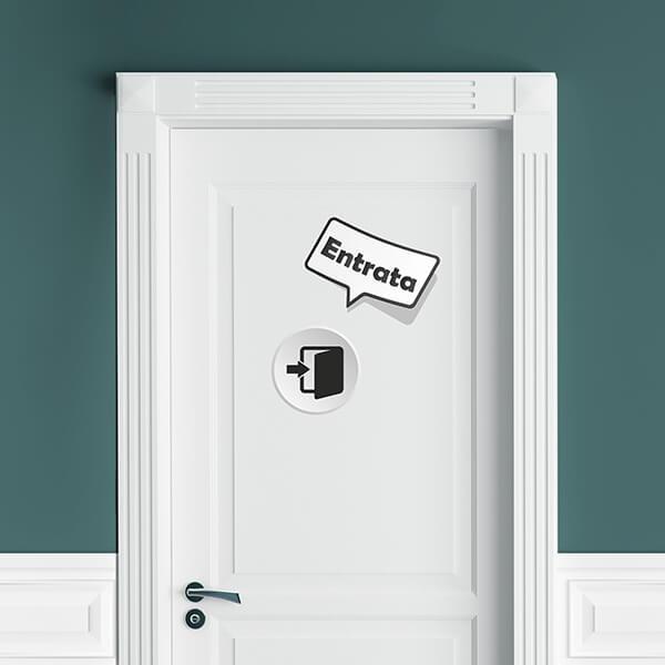segnaletica adesiva per muri e vetri - moderno - entrata / uscita