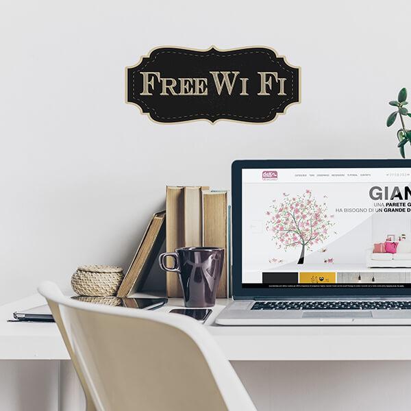 segnaletica adesiva per muri e vetri - vintage - free wi-fi