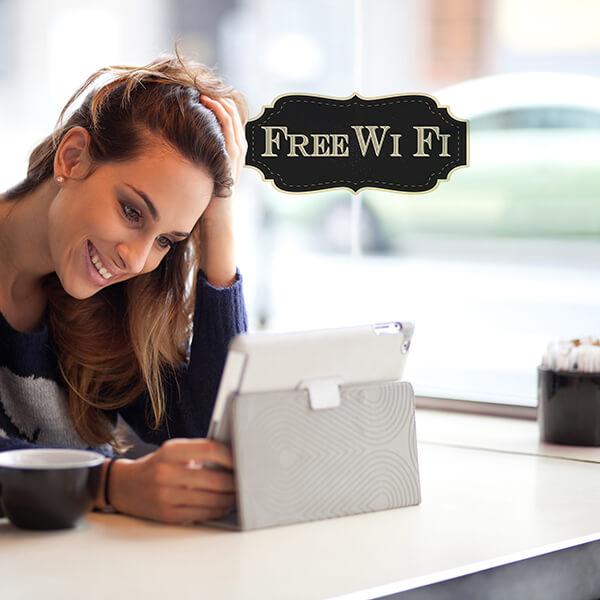 segnaletica adesiva per muri e vetri - vintage - free wi-fi 1