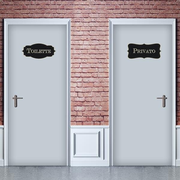 segnaletica adesiva per muri e vetri - vintage - privato / toilette