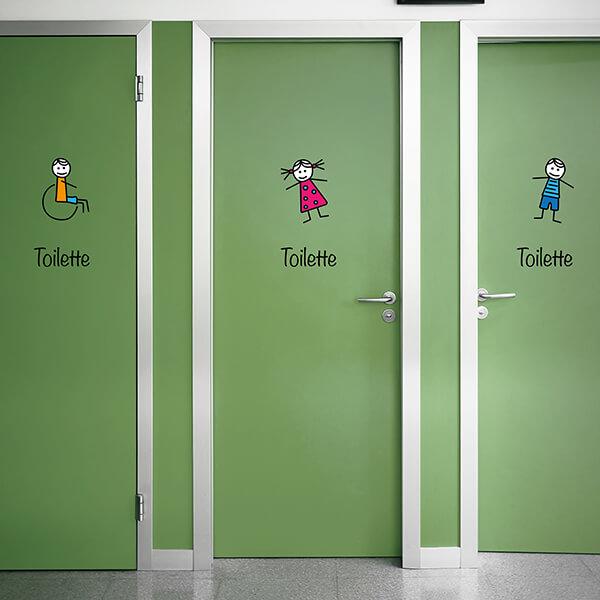 segnaletica adesiva per muri e vetri - disegni - toilette