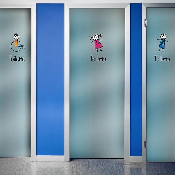 segnaletica adesiva per muri e vetri - disegni - toilette 1
