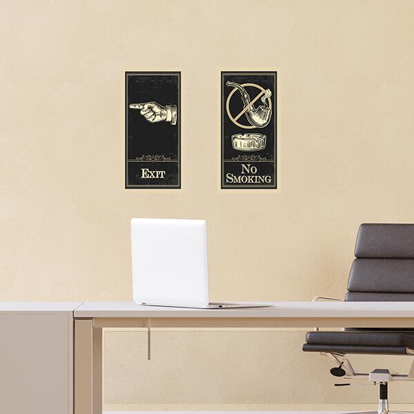 segnaletica adesiva per muri e vetri - Vintage - No Smoking