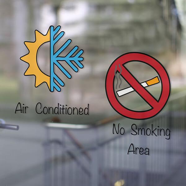 segnaletica adesiva per muri e vetri - no smoking EN 1