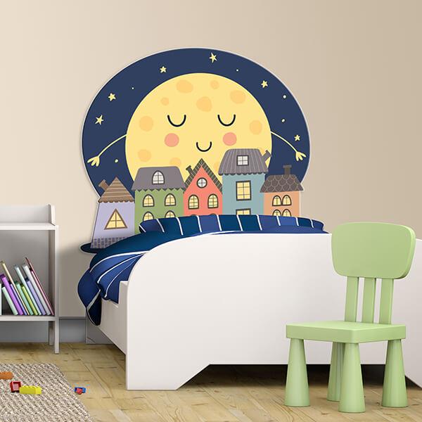 testiera letto singolo bimbi - luna abbraccia la città