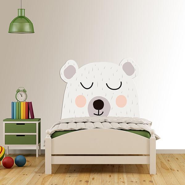 testiera letto singolo bimbi - orso bianco