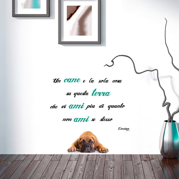 scritta adesiva - cane