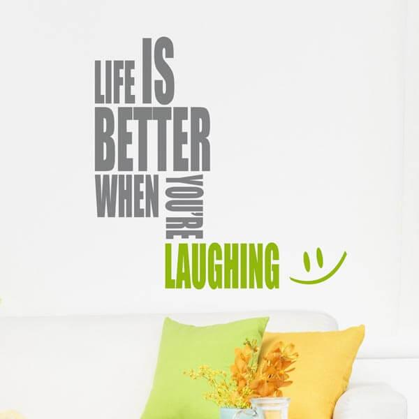 scritta adesiva - life is better 1