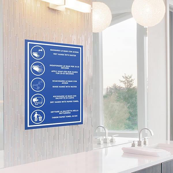 segnaletica covid-19 - Sticker A4 Regole lavaggio mani Blu IT/EN