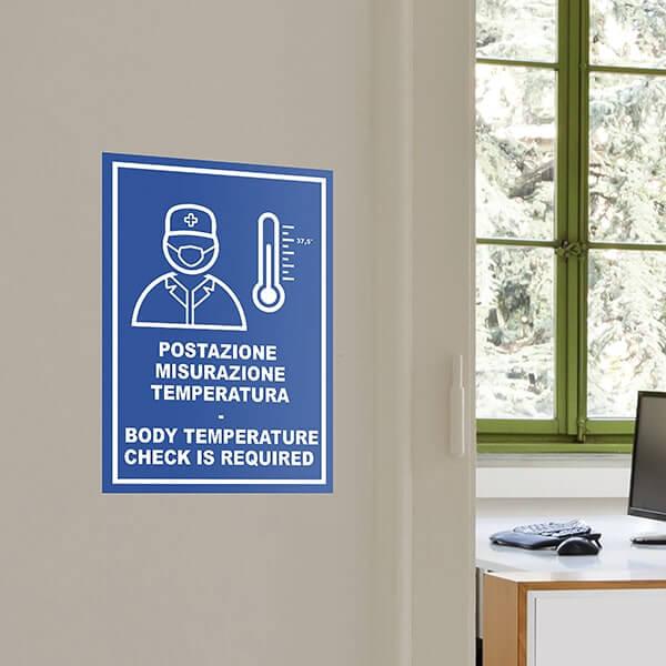 segnaletica covid-19 - Sticker A4 Misurazione Temperatura Blu IT/EN