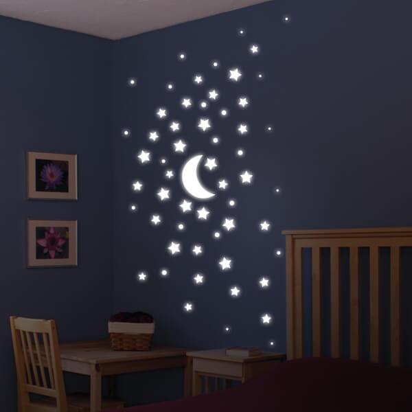 adesivi murali glow - stelle varie dimensioni 1