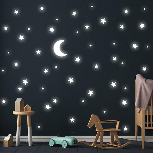 adesivi murali glow - stelle e luna