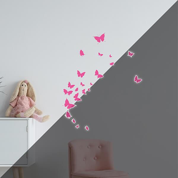 adesivi murali glow - farfalle