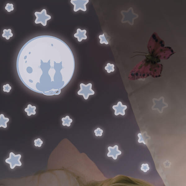 adesivi murali glow - gatti e luna