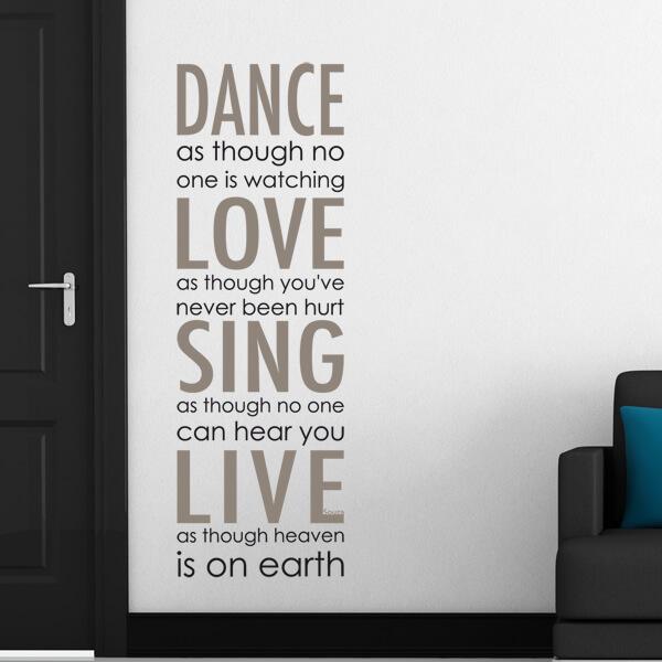 scritta adesiva - dance, love, sing, live