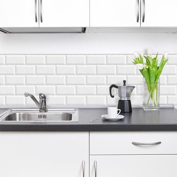 paraschizzi in alluminio bordure - white bricks