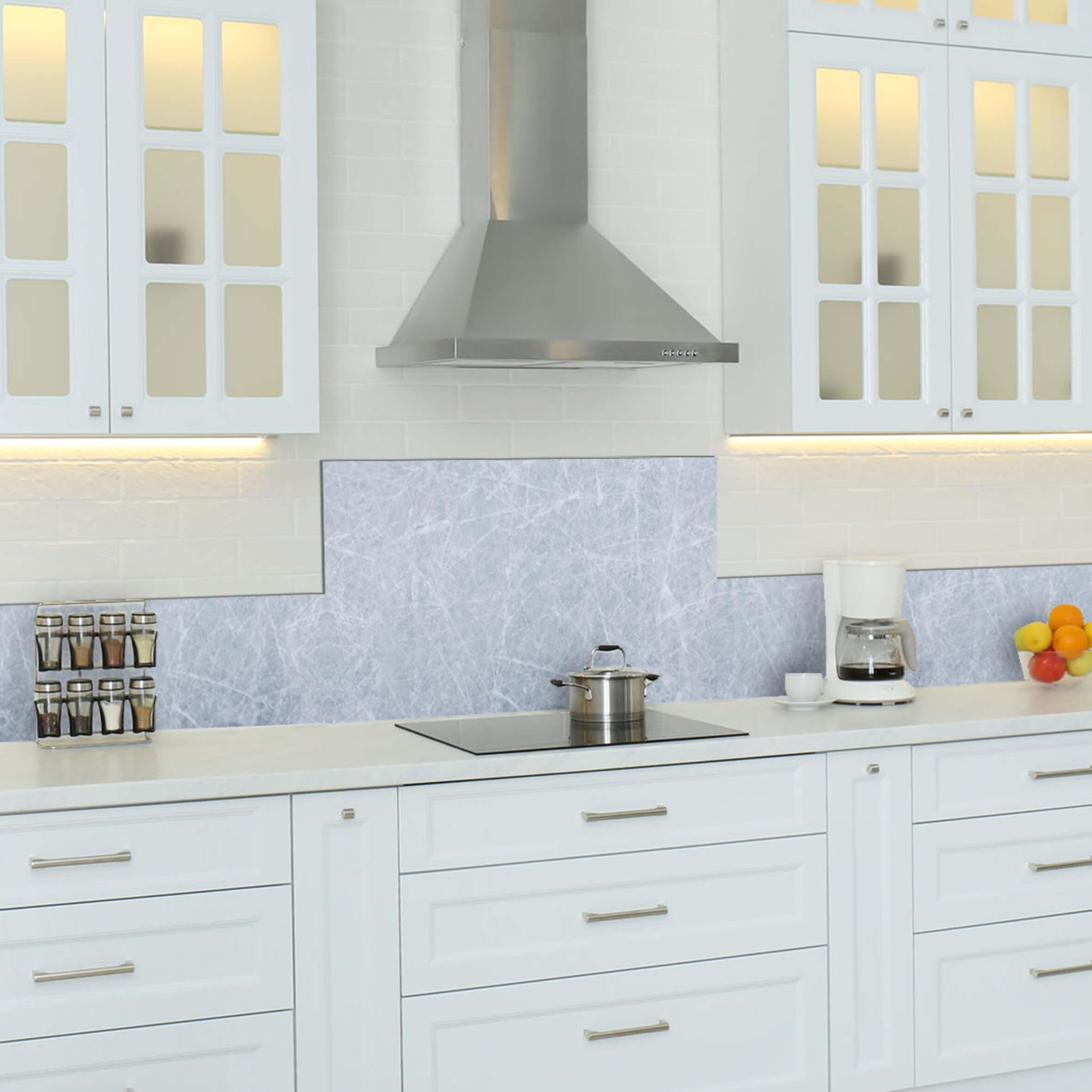 paraschizzi in alluminio abbinato - grey marble