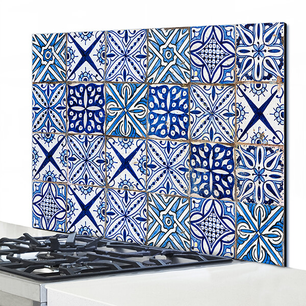 paraschizzi in alluminio panel - blue azulejos