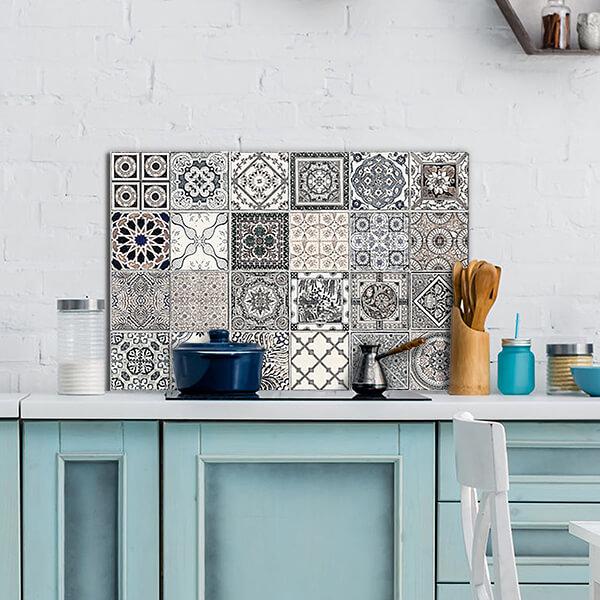 paraschizzi in alluminio panel - grey azulejos