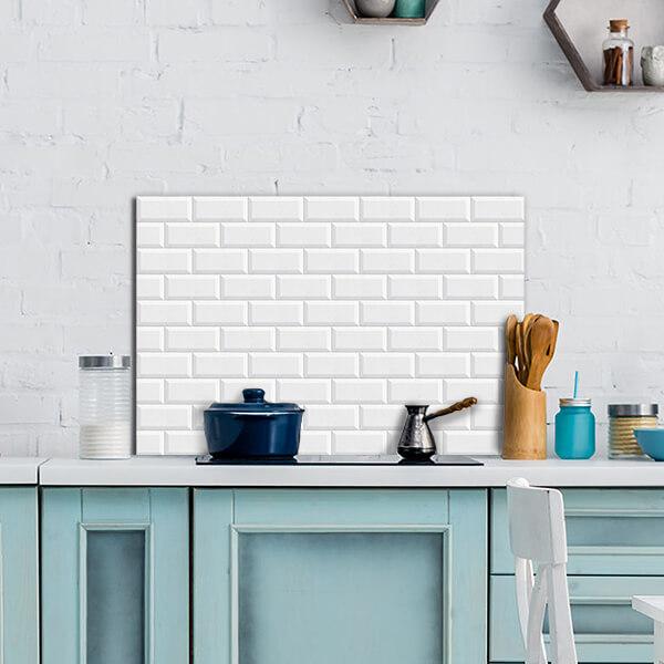 paraschizzi in alluminio panel - white bricks