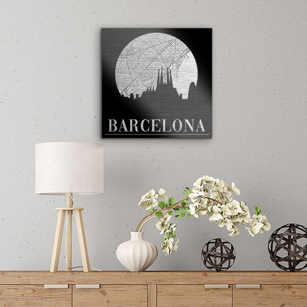 quadri in alluminio - Barcelona 29x29