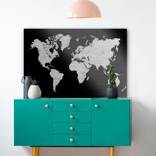 quadri in alluminio - Black World Map 48x72