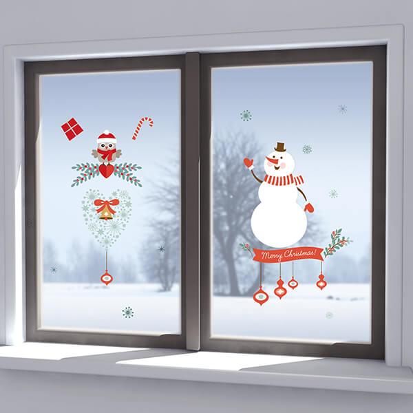 adesivo vetri e muri - pupazzo di neve e decori natalizi
