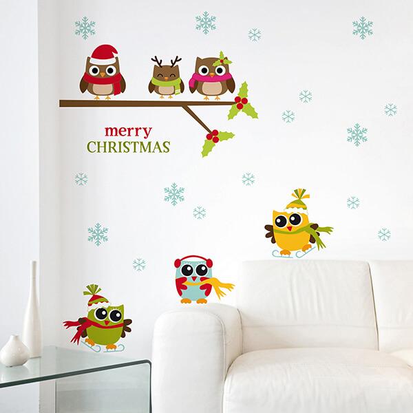adesivo vetri e muri - gufi natalizi