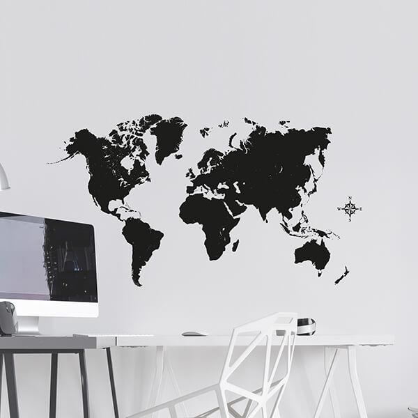 adesivi murali m - black map