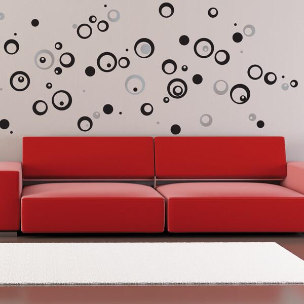adesivi murali L - cerchi neri