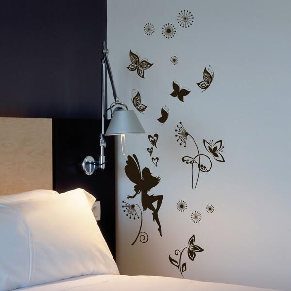 adesivi murali m - fatina-farfalle